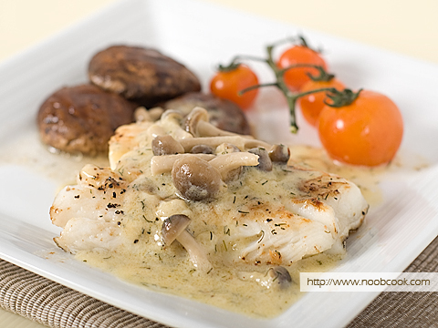 Cod fish with creamy mushroom sauce recipe for Creamy sauce served with fish